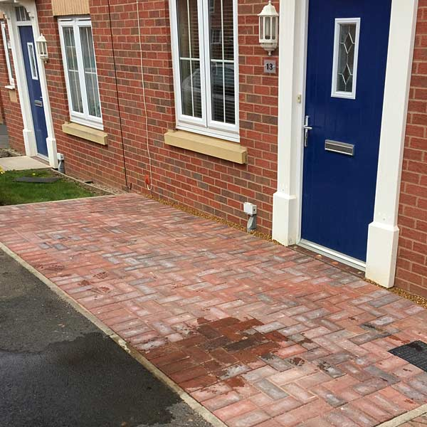 Small block paving area at front door