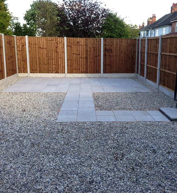New patio area with paving and stones