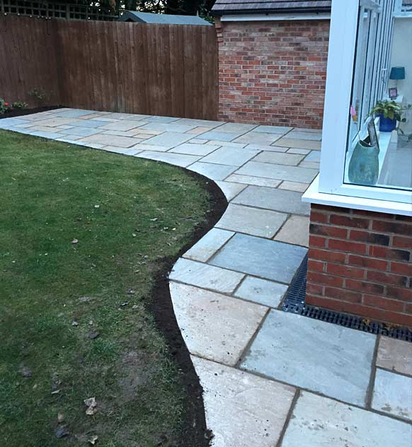 New patio with paving slabs