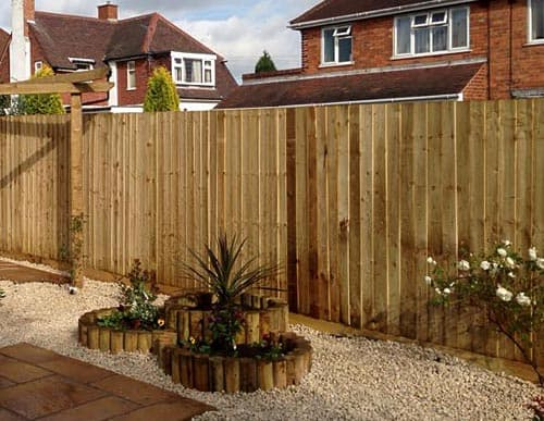 Feathered fencing in garden