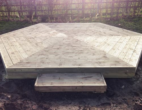 Hexagon base made from timber