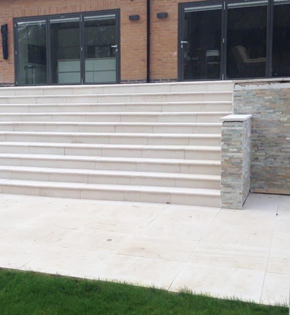 Brickwork paved steps
