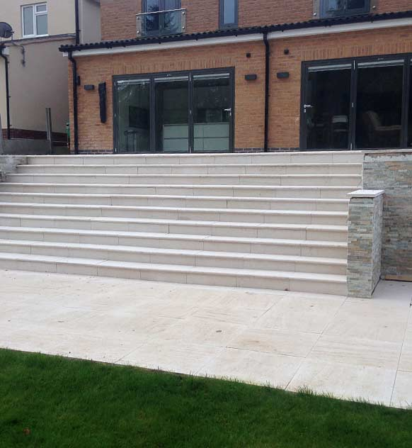 Concrete paving with steps