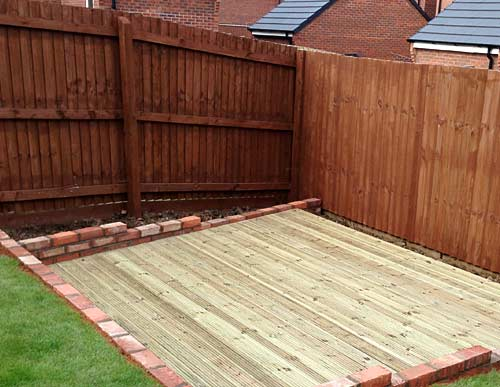 Decking built into garden