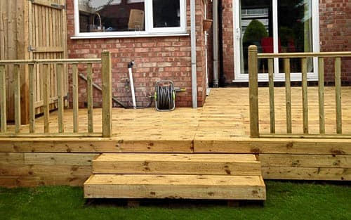Newly installed decking area