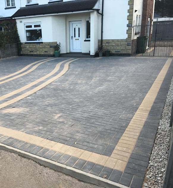 Grey Block Paving with Border