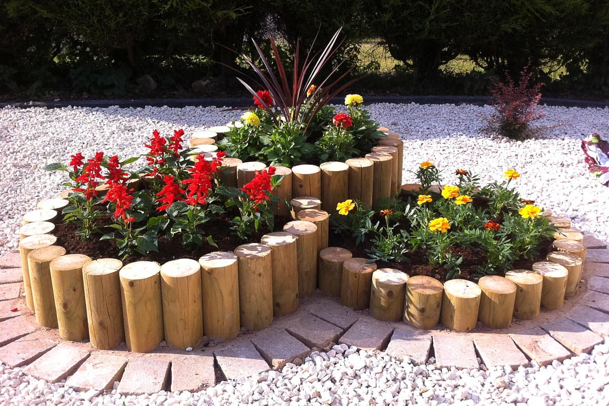 garden design gallery garden sleepers steps planted roll logs - Garden Design Uk Gallery