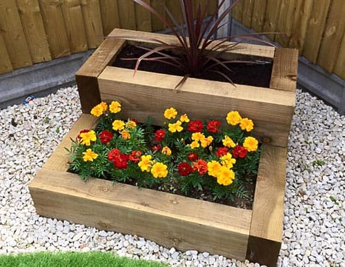 Wooden sleepers flower bed