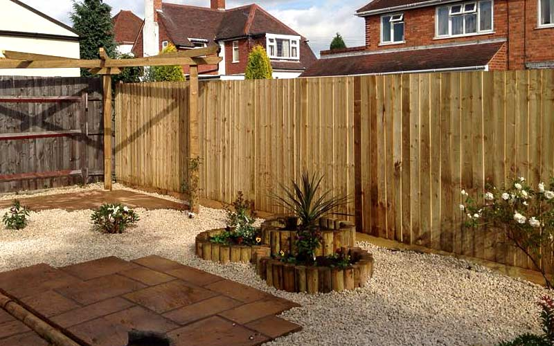 Closeboard fencing installed