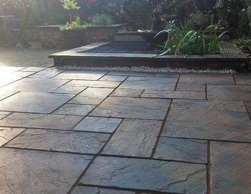 Block paved patio area