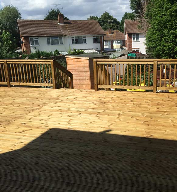 Decking with steps leading to garden
