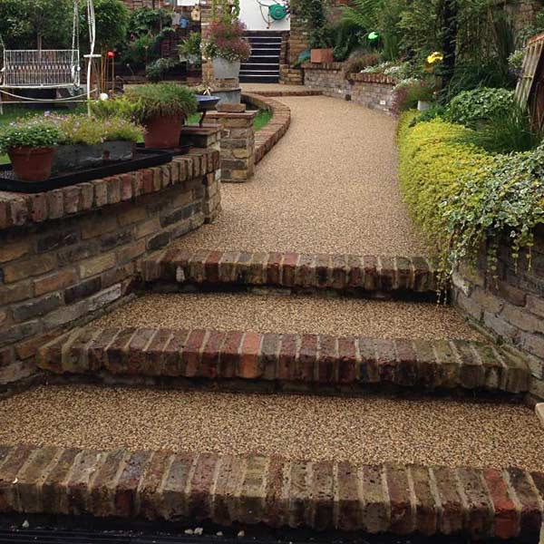 Steps & pathway with bricks and resin bound gravel