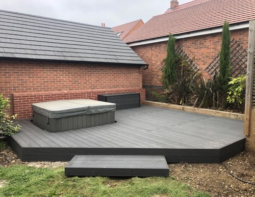 dark grey decking