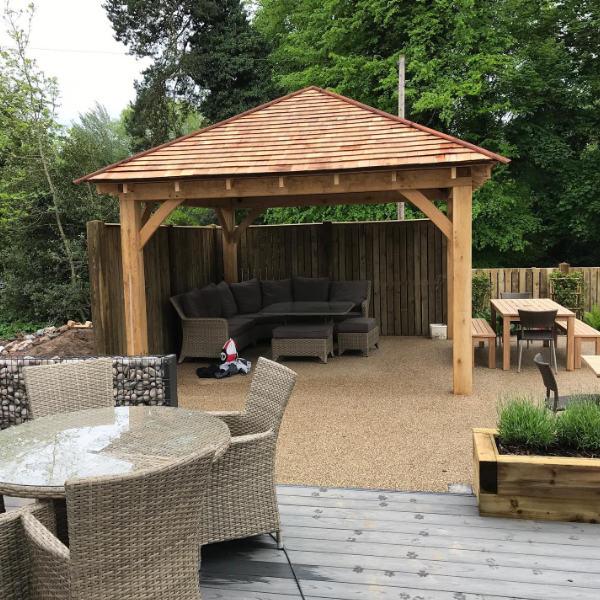 oak gazebo cedar shingle roof