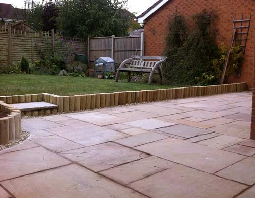Patio area with log roll