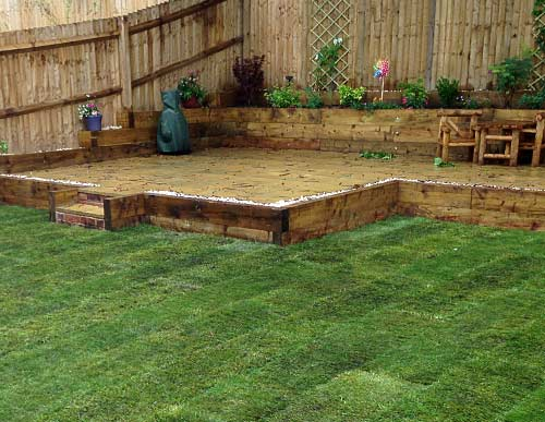 Returfed garden with new decking