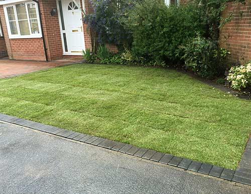 Side garden returfed