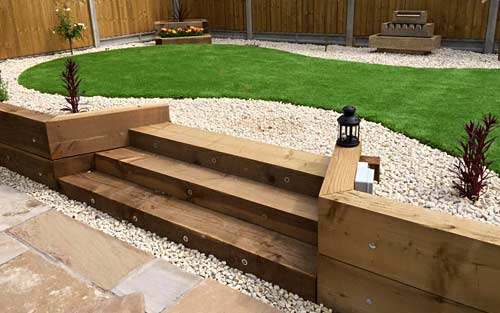 Wooden sleepers used for steps